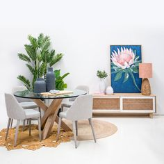 Interior Design Trend: Native Australian Flowers! Tailored Space Interiors, Gold Coast Interior Design Interior Design Trends, Australian Native Flowers, Space Interiors, Hibiscus Flowers, Dining Table, Living Room, House Styles, Inspiration, Furniture