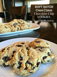 SOFT BATCH CREAM CHEESE CHOCOLATE CHIP COOKIES - Soft, chewy, loaded with semi-sweet chocolate chips!    SweetLittleBluebird.com