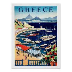 #fishing - #Greecefishing boats on portvintage travel poster