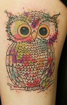 watercolor owl tattoo - Google Search
