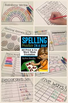 https://www.teacherspayteachers.com/Product/Spelling-Practice-in-a-Snap-1588407 Need to spice up your word work stations and/or spelling practice in your classroom? This packet includes 20 print and go activities that are sure to keep your students engaged and having fun while working with words!
