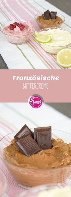 Französische Buttercreme / Sallys Basics The French butter cream is a varied butter cream that is also very suitable for fondant cakes. It can be modified as a fruit butter cream, chocolate butt Buttercreme Frosting, Cupcake Frosting, Delicious Cake Recipes, Yummy Cakes, Dessert Recipes, Fondant Wedding Cakes, Fondant Cakes, Cake Fondant, Fondant Figures