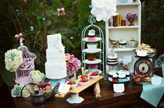Love a little dessert bar idea only in more blue for me!  My Photo Album Wedding Reception Photos on WeddingWire