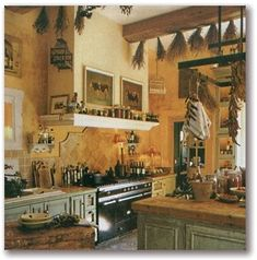 Country French kitchen walls are usually white, cream or a buttery yellow. There is also a preference for wood throughout the kitchen which is often painted. Floors are either terracotta tiles or stone.