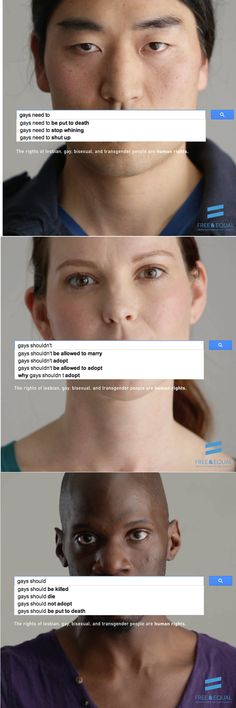 Have you seen UN Women's new #womenshould ad campaign? It shows alarming Google searches from around the globe. Now, UN Free & Equal made their own.  Take a look and share the results!  [via United Nations Human Rights]