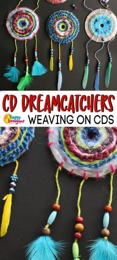 Turn your old CDs and DVDs into beautiful pieces of art to hang in a bedroom and to help ease bed-time worries and anxiety. Great craft for pre-tweens, tweens and teens. for teens WOVEN CD DREAM CATCHERS Yarn Crafts For Kids, Craft Projects For Kids, Arts And Crafts Projects, Arts And Crafts Supplies, Crafts For Teens, Teen Projects, Cd Crafts, Happy Hooligans, Snail Craft