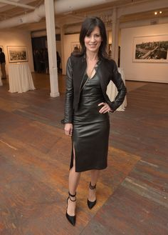 Perrey Reeves attends Alone. Leather Jacket Dress, Leather Mini Dress, Black Leather Dresses, Leather Skirts, Vinyl Dress, Tights Outfit, Ankle Strap Heels, Ankle Straps, Hot Outfits