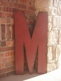 3 Foot Tall Wood Letter M Marquee Style 36 inch Large Letters Wedding Guest Book,Nursery,Room Decor,Photo Props Vintage Style. $75.00, via Etsy.