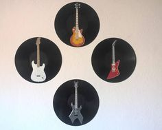 Rock Music Paintings  Set of 4 electric guitar painted on vinyl records #guitarra  #guitar #vinyl #vinylrecord #musicdecor