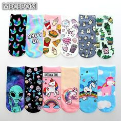 Motivated Women Cartoon Unicorn Socks Cute Animal Print Cotton Short Socks Girls Harajuku Casual Funny Unicorn Ankle Socks Socks Women's Socks & Hosiery