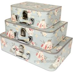 Set of 3 Card Jennifer Rose Floral Shabby Chic Storage Boxes Chests Trunks Cases