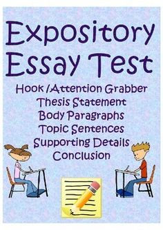 This test prompts students to identify the important elements of an expository essay. I use it with my students during an expository essay writing unit to make sure they understand what each element looks like in a mentor text.  It covers the following concept -Hook/attention grabber -thesis statement -claim/supporting reasons -body paragraphs -topic sentence -supporting details (facts, personal story, quotation)