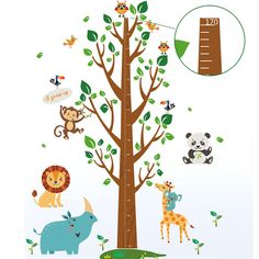 Home Find Growth Chart Wall Decals Animal Height Measurement Walls Stickers Removable Large Tree for Kids Children Room Nursery Decor Home Decoration 43 inches x 69 inches Trees For Kids, Safari, Kids Room Wall Decals, Removable Wall Stickers, Tree Patterns, Nursery Decor, How To Remove, Chart, Wallpaper