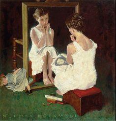 Norman Rockwell, Girl at the Mirror (1954) 이 작품에서 역시 거울은 소녀의 외모를 있는 그대로 반사하는 데에 그친다. 하지만 나르시서스와 반대로 그녀는 자신의 외모에 불만족해 보인다. 그녀는 일부러 거울 앞에 작은 의자를 가져와 그 앞에 앉고 무릎에는 연예인 사진이 담겨진 잡지 한 권을 펴놓고 있다. 그녀는 그 연예인의 포즈를 거울 앞에서 따라 해 보는데 거울 앞에 비춰진 자신의 모습은 잡지 속 연예인처럼 아름다워 보이지 않은 가보다. 거울 속 자신과 눈을 마주치고 있는 그녀의 표정은 굉장히 시무룩 해보인다. 이처럼 거울이 아무리 왜곡되지 않은 현실을 비춰준다고 해도 그것을 보는 사람들은 자신의 마음상태에 따라 이를 굉장히 다르게 받아 들일 수 있다.