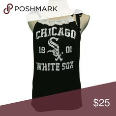 "Chicago White Sox Baseball T Shirt handmade Chicago White Sox Baseball T Shirt handmade from an upcycled cotton/poly t shirt.  Shirts are all handmade and may have side or back panels of cordinating colors   SIZE CHART Small fits 32""-34"" Medium fits 34""-36"" Large fits 36""-38"" XL fits 38""-40"" XXL fits 40""-42"" Tops Tank Tops"