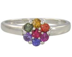 Multicolor Rainbow Sapphire Flower Cluster Ring 925 Sterling Silver : sku 1582-925