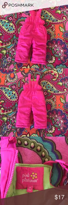 12 month girl Snow Suit Adjustable straps and pockets. Legs have an elastic liner. Never worn. Pink Platinum Jackets & Coats