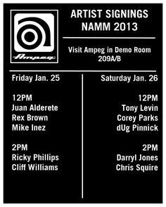 NAMM 2013: Ampeg Artist Schedule