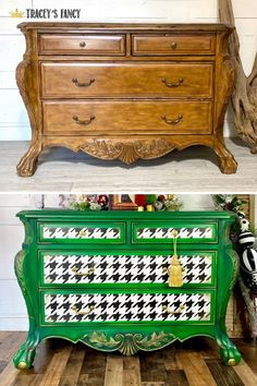 From standard and every day to a fresh cheerful design! Click over to the blog post to see more on this tree frog green houndstooth dresser's transformation. Tracey Bellion of Tracey's Fancy #traceysfancy Chalk painted furniture Houndstooth checkerboard pattern stencil Black and White Dixie Belle Paint #dixiebellepaint Painted furniture inspo Home decor Bold designs Furniture makeover DIY painted furniture How to paint furniture Statement furniture Entryway storage Stenciled furniture