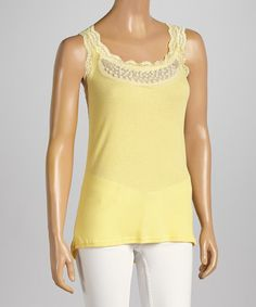 Love this Yellow Lace-Embellished Scoop Neck Tank - Women by Pretty Angel on #zulily! #zulilyfinds
