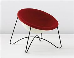 LINA BO BARDI  Lounge chair, circa 1950  Fabric, fiberglass, painted metal.  29 x 28 1/4 x 29 1/4 in (73.7 x 71.8 x 74.3 cm)