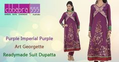 Visit Chhabra555 in Australia with Responsive Customer Service - enquiries responded within 24 hours, and Purple Imperial Purple Art Georgette Readymade Suit Dupatta @ $219.95 AUD.