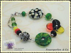 Perlenarmbänder - Handgearb. EM-Glasperlen-Armband !Lampwork! - ein…
