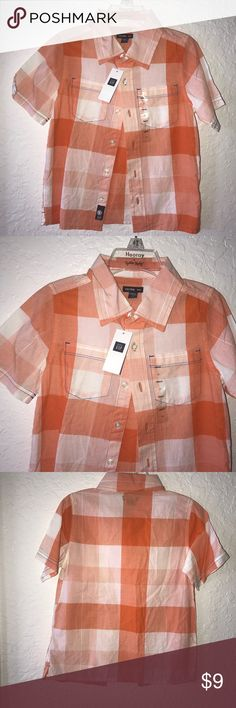 Button down boy shirt Beautiful orange and white plaid button down shirt by gap. GAP Shirts & Tops Button Down Shirts