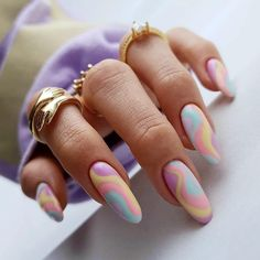 Cute Gel Nails, Funky Nails, Pretty Nails, Almond Acrylic Nails, Best Acrylic Nails, Classy Almond Nails, Almond Nails Designs, Fire Nails, Minimalist Nails
