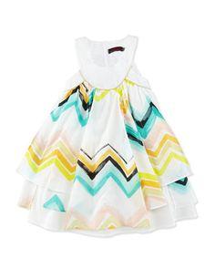 Z1N5W Catimini Sleeveless Paneled Zigzag Dress, White/Multicolor, Size 4-8
