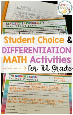7th grade math activities that are differentiated and give students choice.  These year long activities cover all 7th grade standards.  These math centers increase student engagement and student ownership of their learning.  Students will love these project based learning activities where no 2 activities are alike.