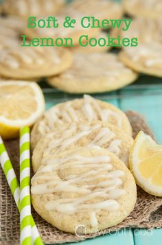 Chewy Soft Lemon Cookies with Lemon Drizzle Lemon Cookies, Yummy Cookies, Yummy Treats, Sweet Treats, Spritz Cookies, Drop Cookies, Just Desserts, Delicious Desserts, Yummy Food