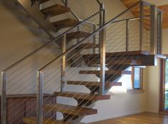 Residential Cable Railing - other - Ultra-tec Cable Railing by The Cable Connection Open Stairs, Stairs And Staircase, Glass Stairs, Modern Staircase, Stair Railing, Cable Railing, Railings, Stairway, Staircases