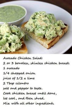 Would be great for Phase 1 and 3 on the Fast Metabolism Diet. Avacodo Chicken Salad, Avocado Salad, Chicken Salads, Avocado Chicken Burger, Chicken Avacado Sandwich, Chipotle Chicken Salad Recipe, Chicken Salad Recipe Easy Healthy, Chicken Salad Sandwiches, Avacado Meals