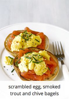 Scrambled egg, smoked trout and chive bagels
