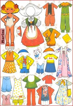 Paper dolls Maria Pascual / Paper dolls by Maria Pascual / Paper dolls / Beybiki. Clothes for dolls Paper Dolls Clothing, Doll Clothes, Paper Toys, Paper Crafts, Paper Doll Costume, Paper Dolls Printable, Kawaii Doodles, Operation Christmas Child, Dress Up Dolls
