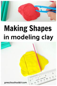 Modeling clay is easy to use in a hands-on math activity. This simple STEAM activity explores shapes and colors with preschoolers. Kids make shapes in the colorful clay, measure and cut out the shapes. Shape Activities, Learning Activities, Toddler Activities, Clay Activity, Kid Experiments, Stem For Kids, Binder Clips, Skills To Learn, Creative Skills