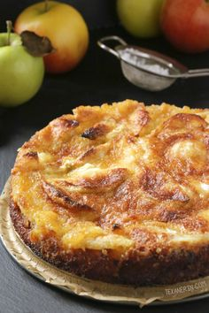 This simple French apple cake is like a crustless pie with a crunchy topping. Can be made 100% whole grain, or with all-purpose flour, and dairy-free.