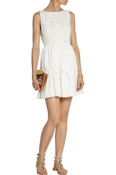 Alice + OliviaVinny embroidered cotton-poplin mini dressoutfit