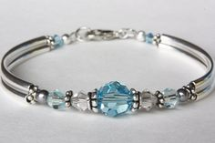 Blue Crystal Silver Bracelet Light Blue Swarovski by PearlTwinkle