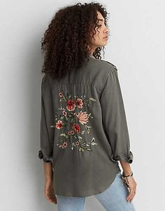 AEO Embroidered Utility Shirt , Olive | American Eagle Outfitters