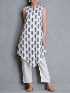 Buy White Brown Block Printed Cotton Kurta Women Kurtas Nature's Potpourri Vegetable Dyed Linen & Khadi Apparel Online at Jaypore.com
