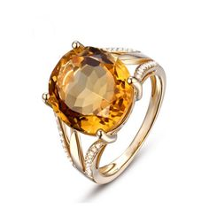 Dolcezza - Citrine Diamond Yellow Gold Cocktail Ring