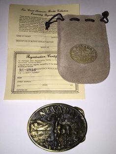 Nevada Brass Belt Buckle 1983 Heritage Mint Collection Desert Bighorn Sheep #HeritageMint