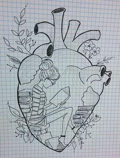 Head in books. Abstract Pencil Drawings, Dark Art Drawings, Music Drawings, Art Drawings Sketches, Doodle Drawings, Colorful Drawings, Easy Drawings, Doodle Art, Cute Disney Drawings