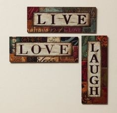 Wonderful Amazon.com: 3 Assorted Live, Love And Laugh Wood Wall Decor: Home
