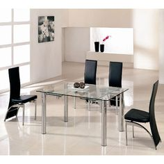 Alicia Clear Glass Extending Dining Table Only