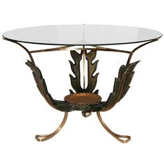 A Stunning 1940's Italian Carved Wood & Brass Cocktail Table | 1stdibs.com