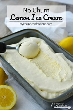No Churn Lemon Ice Cream is a gift from Heaven! It's creamy custard-like texture and refreshing flavor with leave you breathless. You don't need a ice cream maker to make this homemade goodness and it's so easy anybody can make it! Ice Cream Desserts, Lemon Desserts, Lemon Recipes, Köstliche Desserts, Frozen Desserts, My Recipes, Melon Ice Cream Recipes, Greek Dessert Recipes, Custard Ice Cream Recipe