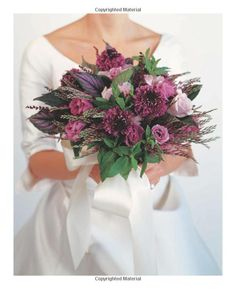 To Have & To Hold: Magical Wedding Bouquets: David Stark, Avi Adler: 9781579652784: Amazon.com: Books      An Array of Lavenders & purples-scabiosas (known as pincushion flowers), lisianthus, limoniums, lavender spray roses,interwoven with Persian shield leaves I fragrant mint leaves ( the kind you eat)